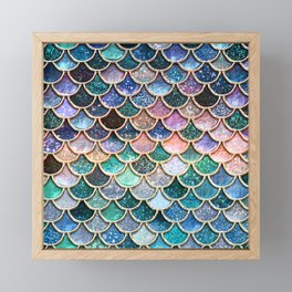 Multicolor Pink And Aqua Mermaid Scales - Beautiful Abstract Glitter Pattern Framed Mini Art Print