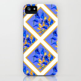 PATTERNED MODERN ABSTRACT BLUE & GOLD CALLA LILIES iPhone Case