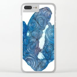 Blue Crystal Bling Clear iPhone Case