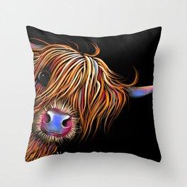 HiGHLaND CoW PRiNT SCoTTiSH ' SuGaR LuMP B ' BY SHiRLeY MacARTHuR Throw Pillow