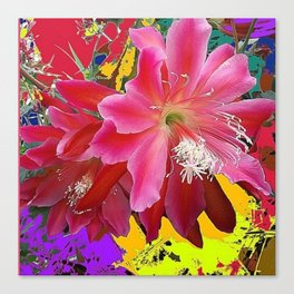 Fuchsia Pink Orchid Cacti Flower Canvas Print