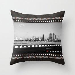 I Love Mumbai- BW Mumbai Skyline Throw Pillow