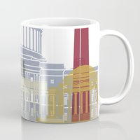washington dc Mugs featuring Washington DC skyline poster by Paulrommer