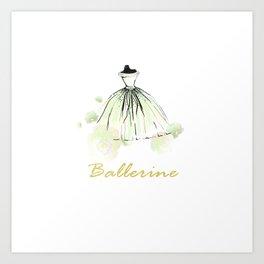 Green Dress Ballerina Art Print