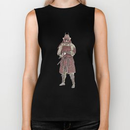 Japanese Samurai in red armor | watercolor & pencil sketch Biker Tank