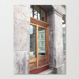 Old Montreal Wood Window Canvas Print