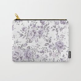 FLORAL VINTAGE ROSES MAUVE WHITE Carry-All Pouch