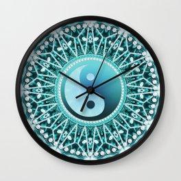Tranquility Yin Yang Blue Aqua Mandala Wall Clock