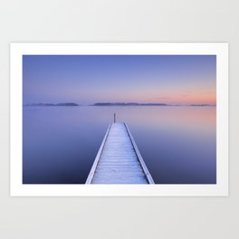 Jetty on a still lake in winter in The Netherlands Art Print