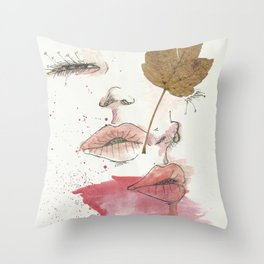 Leaf and lips Throw Pillow
