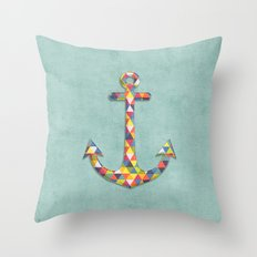 Geometric Rainbow Anchor Throw Pillow