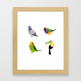 geometric bird print Framed Art Print