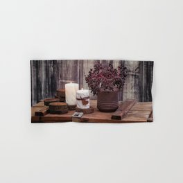 Autumn Still Life with berries and candles Hand & Bath Towel
