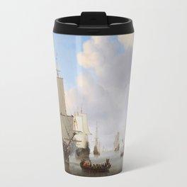 Vintage Ship Oil Painting Travel Mug