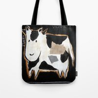 cow Tote Bags featuring cow by woman