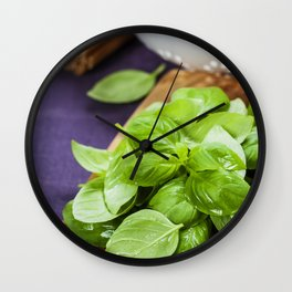 Basil and ingredients for making italian pasta Wall Clock