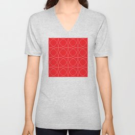 Lipstick Red Concentric Circles Rogue Sophisticate Pattern Unisex V-Neck