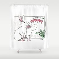 rabbits Shower Curtains featuring Rabbits by LyndaParker