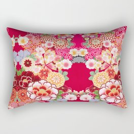 Red Floral Burst Rectangular Pillow