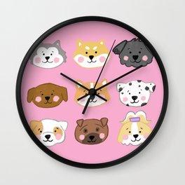 Nine Cute Dogs in Pink Wall Clock