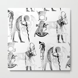Ancient Egypt  Symbols in Black and White Pattern Metal Print
