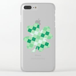 Checkered Shamrock. Four Leaf Clover. St Patrick's Day Clear iPhone Case