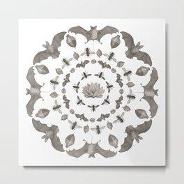 Bats Mandala Metal Print