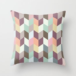 Chevron Pastel Color Combined Throw Pillow
