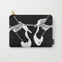 Forever, together... black and white fetish pop art, heels and cuffs, BDSM submissive girl Carry-All Pouch
