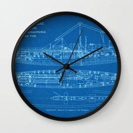 H.M.S. Nautilus Submarine - Blueprint Wall Clock