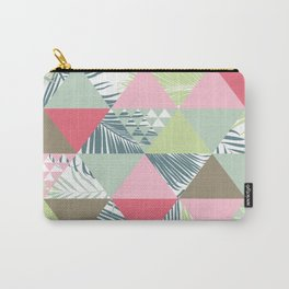 Tropical Palm Leaf, Geometric Pattern, Pastel, Pink, Grey, Blue, Green Carry-All Pouch