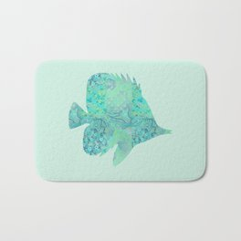 Butterflyfish Buttefly Fish Tropical Fish Vintage Floral Mint Teal Turquoise Blue Bath Mat