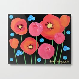 Poppies and Peonies Metal Print