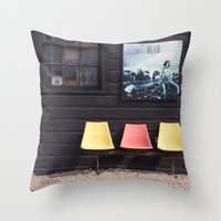 posters Throw Pillows featuring Seats outside Heritage Posters by RMK Photography
