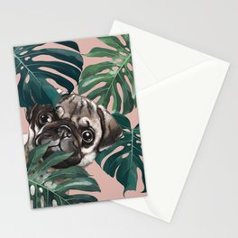 Pug with Monstera Leaf Stationery Cards