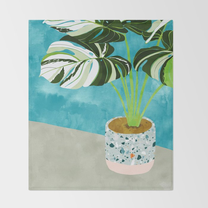 Variegated Monstera #tropical #painting #nature Throw Blanket