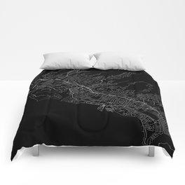 Honolulu Black Map Comforters