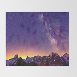 Sunset Mountain #stars Throw Blanket