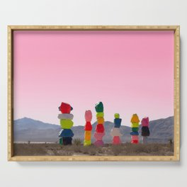 Seven Magic Mountains with Pink Sky - Las Vegas Serving Tray