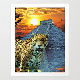Chichen Itza Temple Guardian - South American Jaguar Art Print