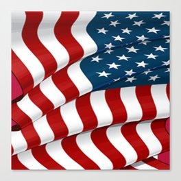 WAVY AMERICAN FLAG JULY 4TH ART Canvas Print