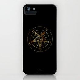 Wiccan symbol golden Sigil of Baphomet- Satanic god occult symbol iPhone Case