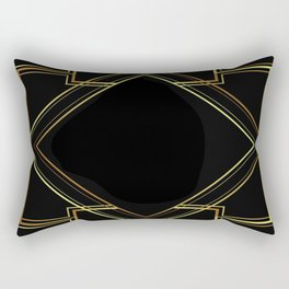 art deco gatsby black and gold lines geometric pattern Rectangular Pillow