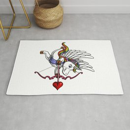 Cute Unicorn Cupid Valentines Day Rug