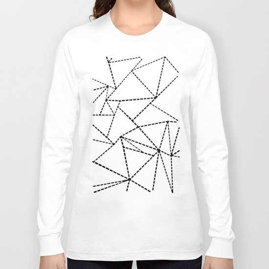 Abstract Dotted Lines Black and White Long Sleeve T-shirt
