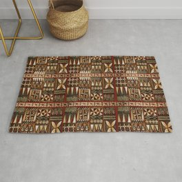 Hawaiian Shark Tooth Tapa Rug