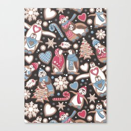 Penguin Christmas gingerbread biscuits Canvas Print