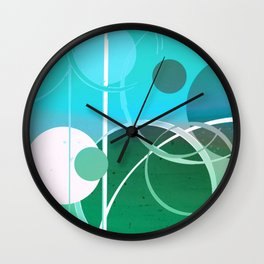 Turquoise Green Ombré Circle Abstract Design 2 Wall Clock