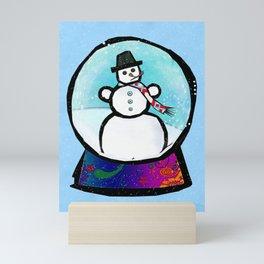 Frost Man Whimsical Christmas Holiday Folk Art Mini Art Print