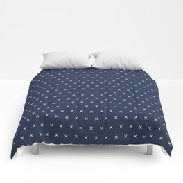 Navy blue and White cross sign pattern Comforters